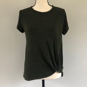 Ginger G Green Striped Tie Front Short Sleeve Tee